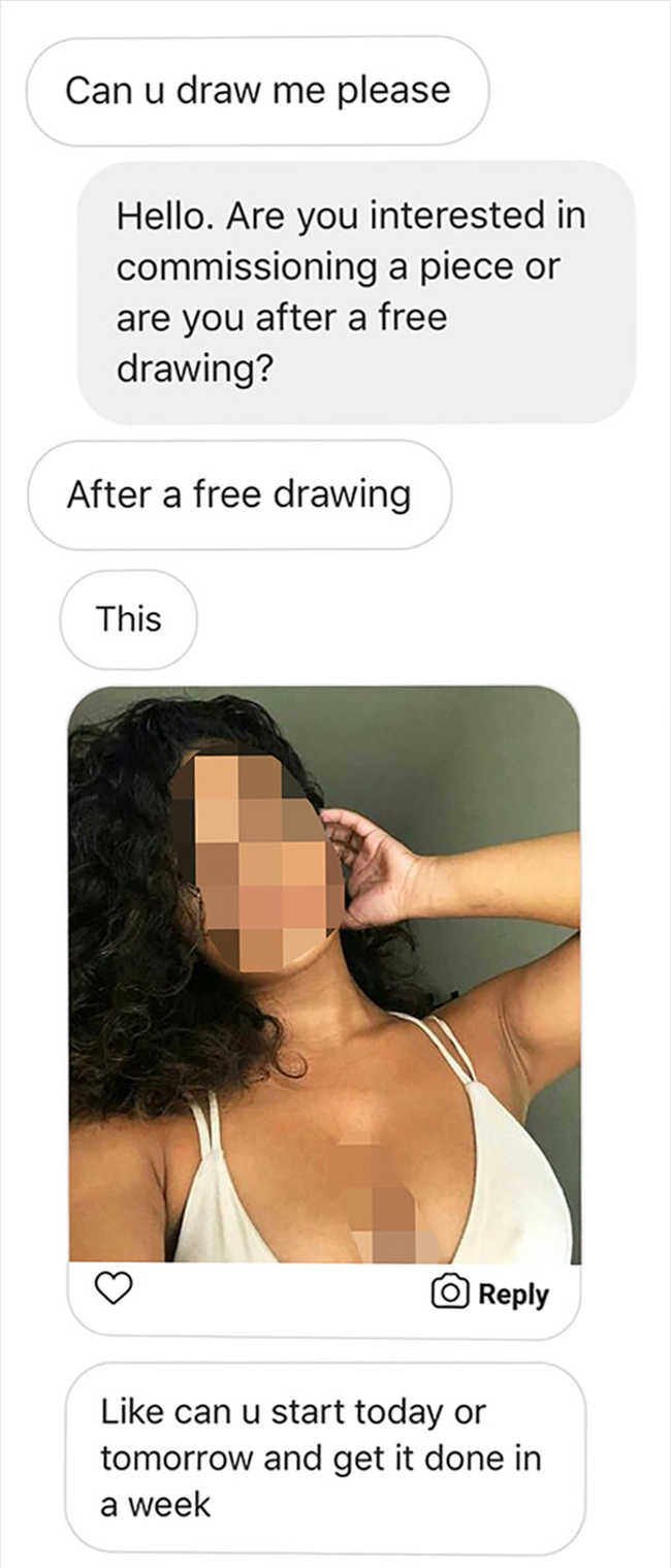 This Artist Cleverly Trolled The People Who Kept Sending Requests For Freebies - 2