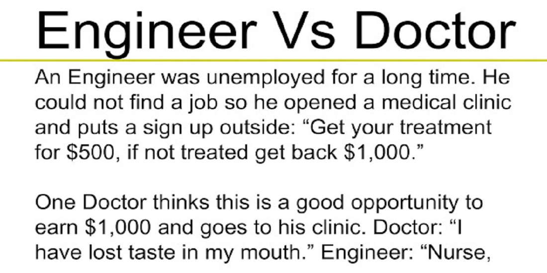 Engineer VS Doctor