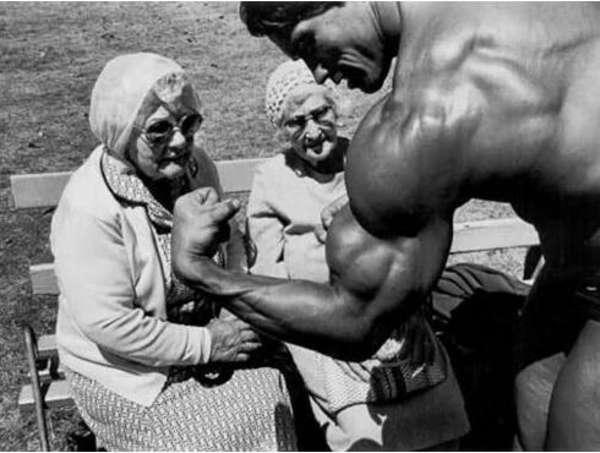 3. Arnold Schwarzenegger's muscular pose