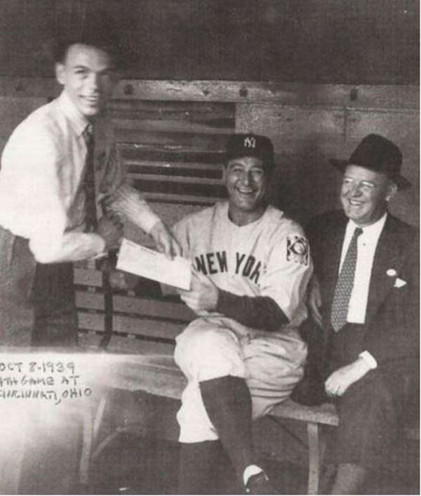 9. Lou Gehrig autographing for Frank Sinatra