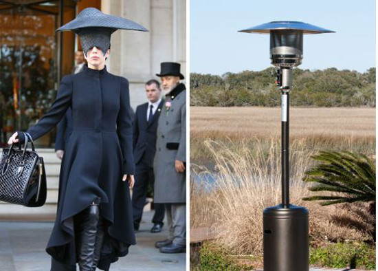 Lady Gaga imitating a patio heater