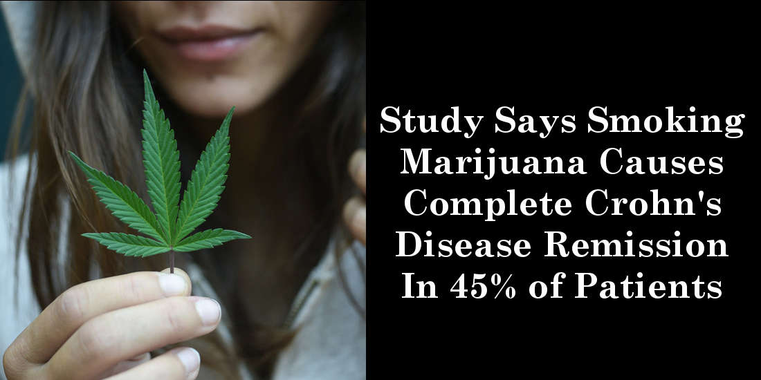Study Says Smoking Marijuana Causes Complete Crohn's Disease Remission In 45% of Patients