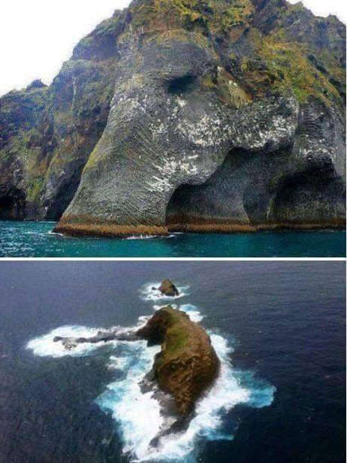 "The famous ""Elephant Rock"" located in Iceland."