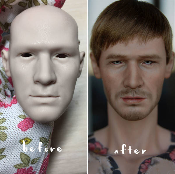 13. The transformation of a male doll's face!