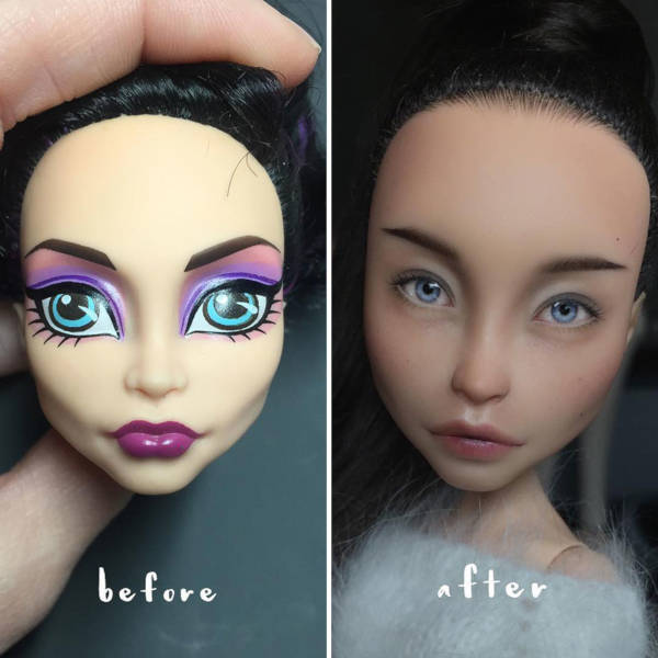 3. This time a simple eye procedure made the doll look like a typical Russian tweenager instead of a blue-eyed unrealistic doll.