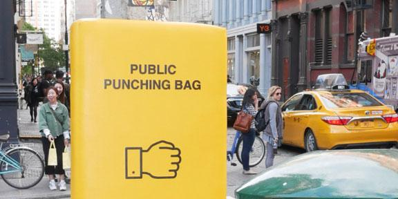 Punching Bags On Your Way To Work Manhattan Says Why Not! - 1