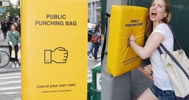 Punching Bags On Your Way To Work Manhattan Says Why Not!