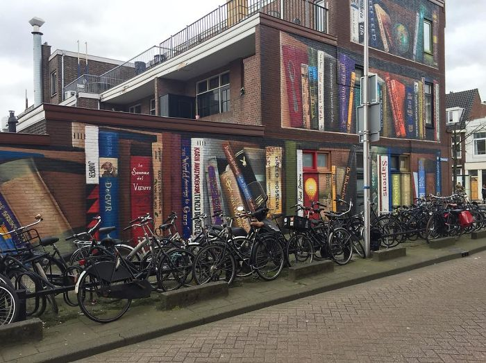 Dutch Artist Paints A Giant Bookcase On The Walls Of A Building And People Are Amazed - 1