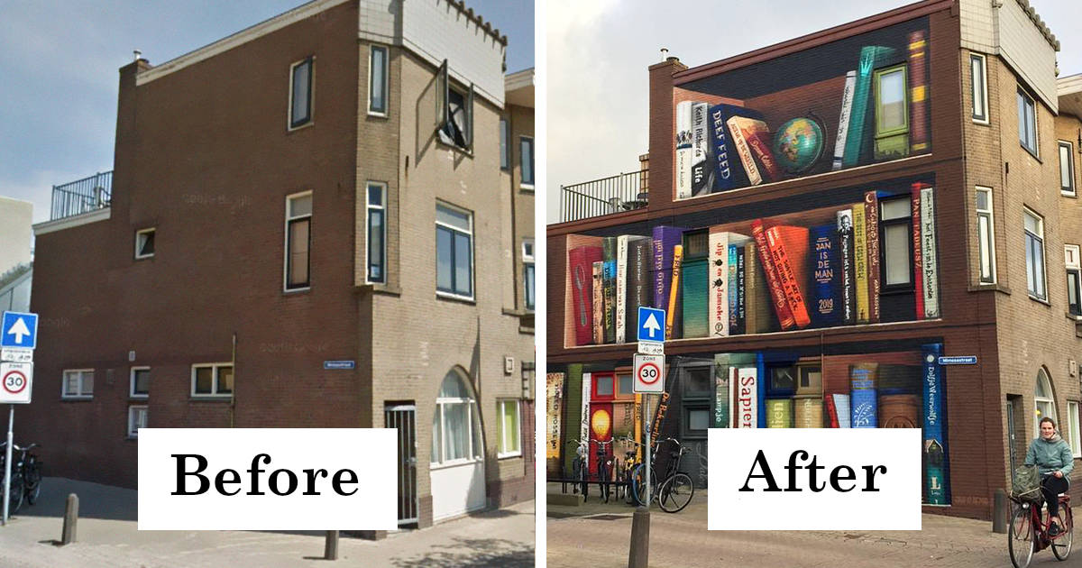 Dutch Artist Paints A Giant Bookcase On The Walls Of A Building And People Are Amazed