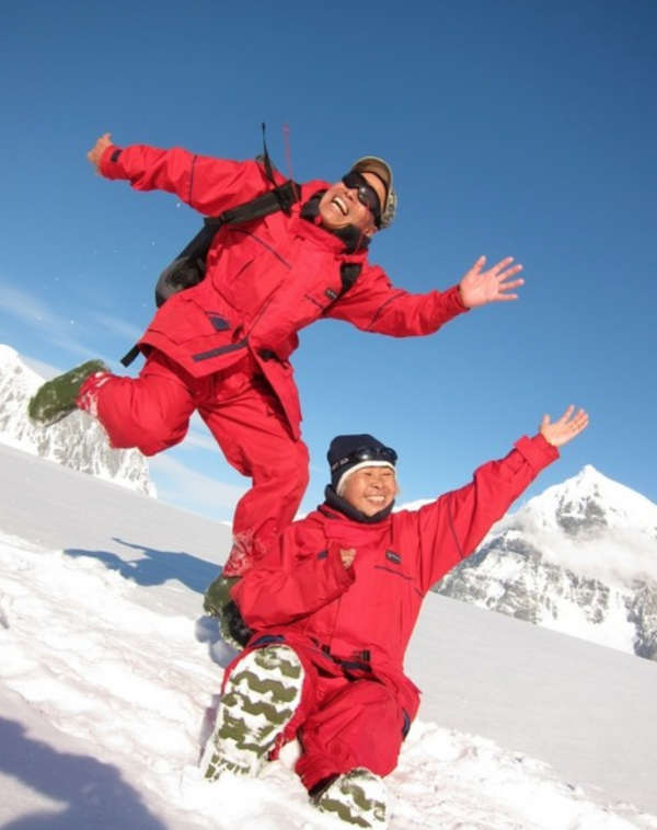 Zhang Guangzhu and Wang Zhongjin in Antarctica