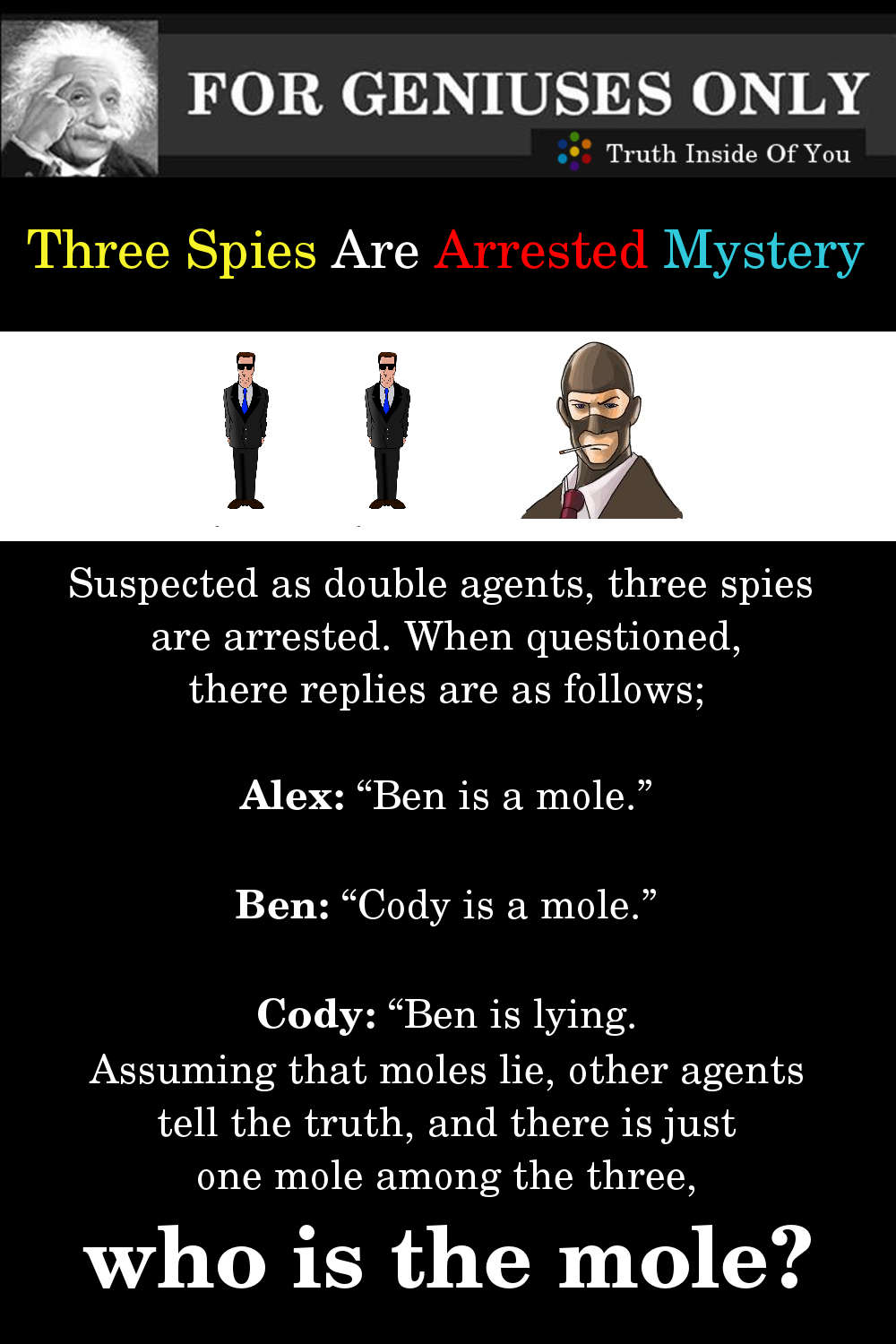Riddle: Three Spies Are Arrested Mystery