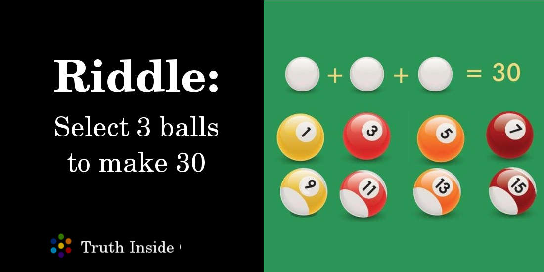 Select 3 balls to make 30 math problem